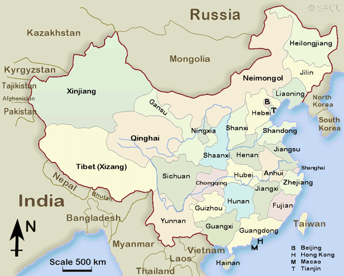 carte province chine